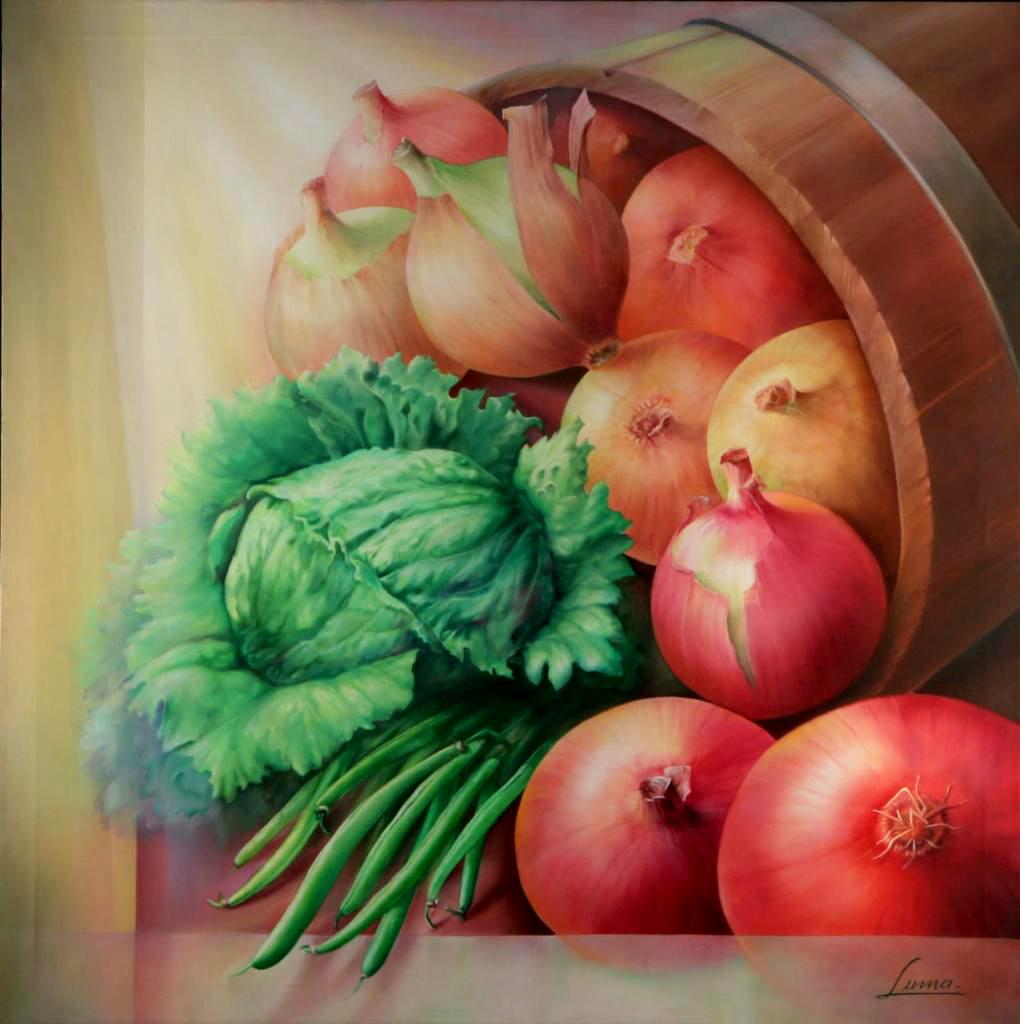 Oleo Bodegón de Verduras